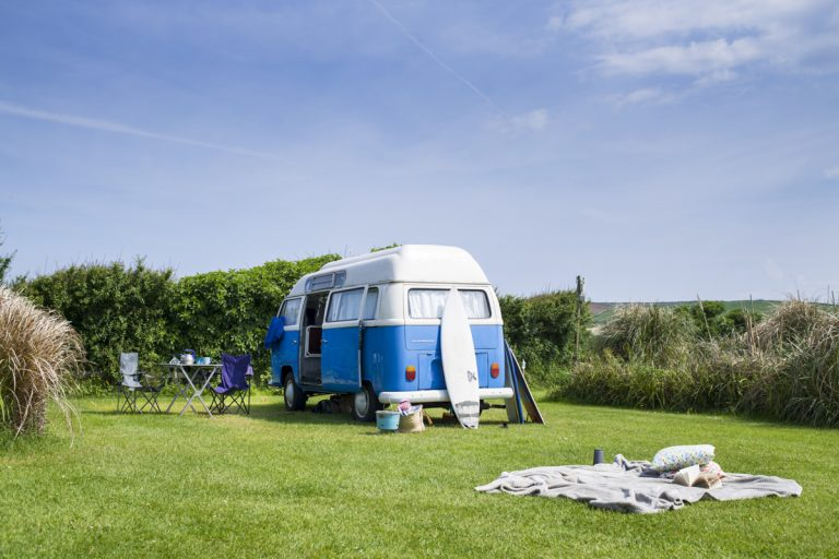 Campervan surfing and barbecue
