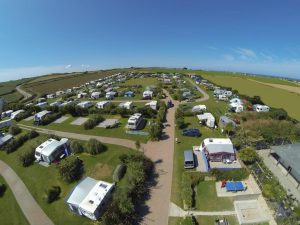 Birds eye view of Gwithian Farm Campsite