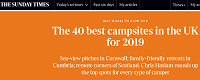 Top 40 campsites in the UK Sunday Times